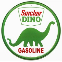 Sinclair Dino Gasoline Round Tin Metal Signs Vintage Style Dinosaur Gas Oil B16