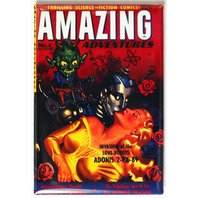 Amazing Adventures Comic Book FRIDGE MAGNET Sci Fi Issue 4 Pin Up Girl Robot