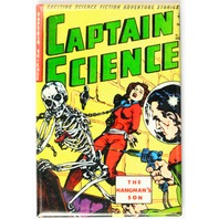 Captain Science Comic Book FRIDGE MAGNET Sci Fi Pulp Fiction Space Skeleton Monster