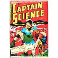 Captain Science No 2 Comic Book FRIDGE MAGNET Sci Fi Pin Up Girl  Space Saucer