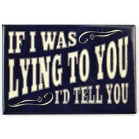 If I Was Lying To You I'd Tell You FRIDGE MAGNET Office Humor Comedy Funny