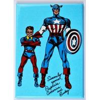 Captain America and Bucky FRIDGE MAGNET Marvel Comics Super Hero Vintage Style