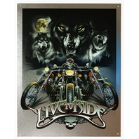 Live To Ride Tin Metal Sign Wolf Pack Motorcycle Biker Sturgis Daytona Bike Week