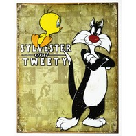 Sylvester and Tweety Bird Tin Metal Sign Looney Tunes Cartoon Bugs Bunny