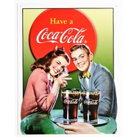 Have A Coca Cola Tin Metal Sign 1950s Diner Coke Date Night Soda Pop