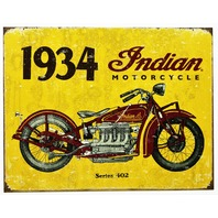 1934 Indian Motorcycle Series 402 Tin Metal Sign Bike Vintage Style