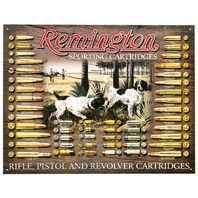 Remington Sporting Cartridges Tin Metal Sign Ammo Trap Shoot Bird Dog Rifle Gun