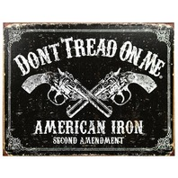 Dont Tread On Me American Iron Second Amendment Tin Metal Sign Hand Gun