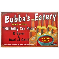 Bubbas Eatery Hillbilly Six Pack Tin Metal Sign Beer and Chili Restaurant Kitchen