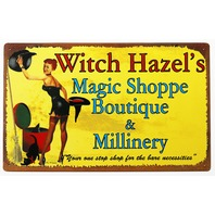 Witch Hazels Magic Shoppe Boutique Tin Metal Sign Pin Up Girl Halloween