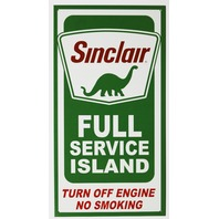 Sinclair Full Service Island Service Station Tin Metal Sign Dino Logo Gas and Oil