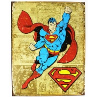 Vintage Style Superman Tin Metal Sign DC Comics Comic Book Hero Throwback