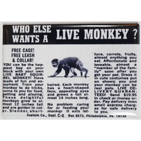 Live Monkey Comic Book AD FRIDGE MAGNET Vintage Style Toy