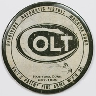 Colt Revolvers Round FRIDGE MAGNET Pistols Machine Guns Fire Arms Vintage Logo