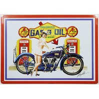 Roar with Gilmore Gasoline Tin Sign Gas and Oil Motorcycle Bike Pinup Girl Shell
