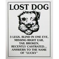 Lost Dog Answers to Lucky Tin Sign Funny Humor Pet Pets K9 Home Decor Puppy