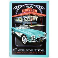 1958 Chevy Corvette Americas Sports Car Tin Sign Chevrolet Diner Drive In