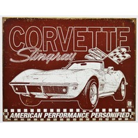 Chevrolet Corvette Stingray Tin Metal Sign Sports Chevy 327 454 350 Sports Car