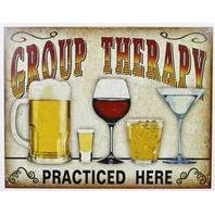 Group Therapy Practice Here Tin Metal Sign Beer Bar Alcohol Wine Shots Martini