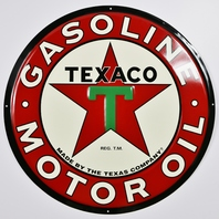 Large Texaco Gasoline Motor Oil Tin Metal Sign Mechanic Garage 2 ft Diameter