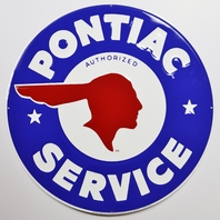 Large Pontiac Service Tin Metal Sign GTO Firebird Prix Trans AM 2 ft Diameter