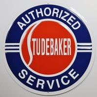 Large Studebaker Authorized Service Tin Metal Sign Cruiser Wagon 2 ft Diameter