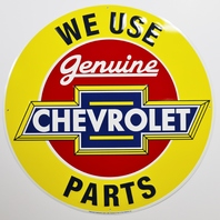Large Genuine Chevrolet Parts Tin Metal Sign Chevy Camaro Corvette 2 ft Diameter