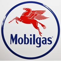 Large Mobilgas Tin Metal Sign Oil Gas Exxon Mobil 2 ft Diameter