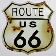 Large US Route 66 Tin Metal Sign Classic Highway Sign Americana Garage