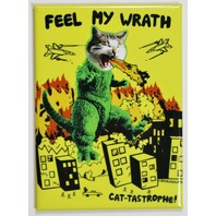 Feel My Wrath Cat-Tastrophe CatZilla FRIDGE MAGNET Humor Funny Godzilla Cat