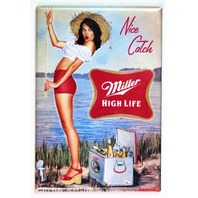 Miller High Life Nice Catch Pin Up Girl FRIDGE MAGNET Beer Fishing