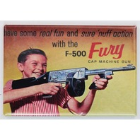 J-500 Fury Cap Machine Gun Comic Book Ad FRIDGE MAGNET Vintage Toy