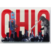Ohio Godzilla Fighting Giant Robot FRIDGE MAGNET OSU Columbus Skyline Monsters