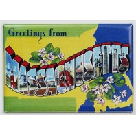 Greetings From Massachusetts Postcard FRIDGE MAGNET Boston