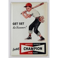 Champion Spark Plugs Vintage Ad FRIDGE MAGNET Cincinnati Reds Baseball