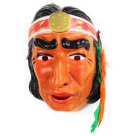 Vintage Indian Halloween Mask Cesar 1970's 80's Costume France Warrior Chief Scout