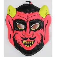 Vintage Red Devil Halloween Mask Demon Fun World 1970's 80's