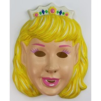 Vintage Princess Halloween Mask Beauty Queen Miss America Blonde