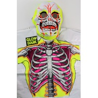 Vintage Collegeville Glow in the Dark Skeleton Halloween Mask and Costume Skull Monster 1986