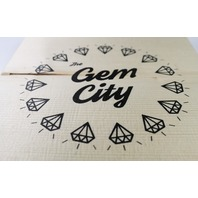 Dayton Gem City Screen Printed Wood Tile Wall Decor w/ easy hanging bracket OHIO office decor