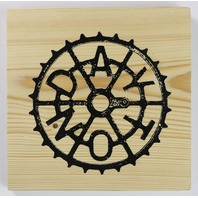 Dayton Sprocket Ohio Screen Printed Wood Tile  Huffy Wall Decor w/ easy hanging bracket office decor
