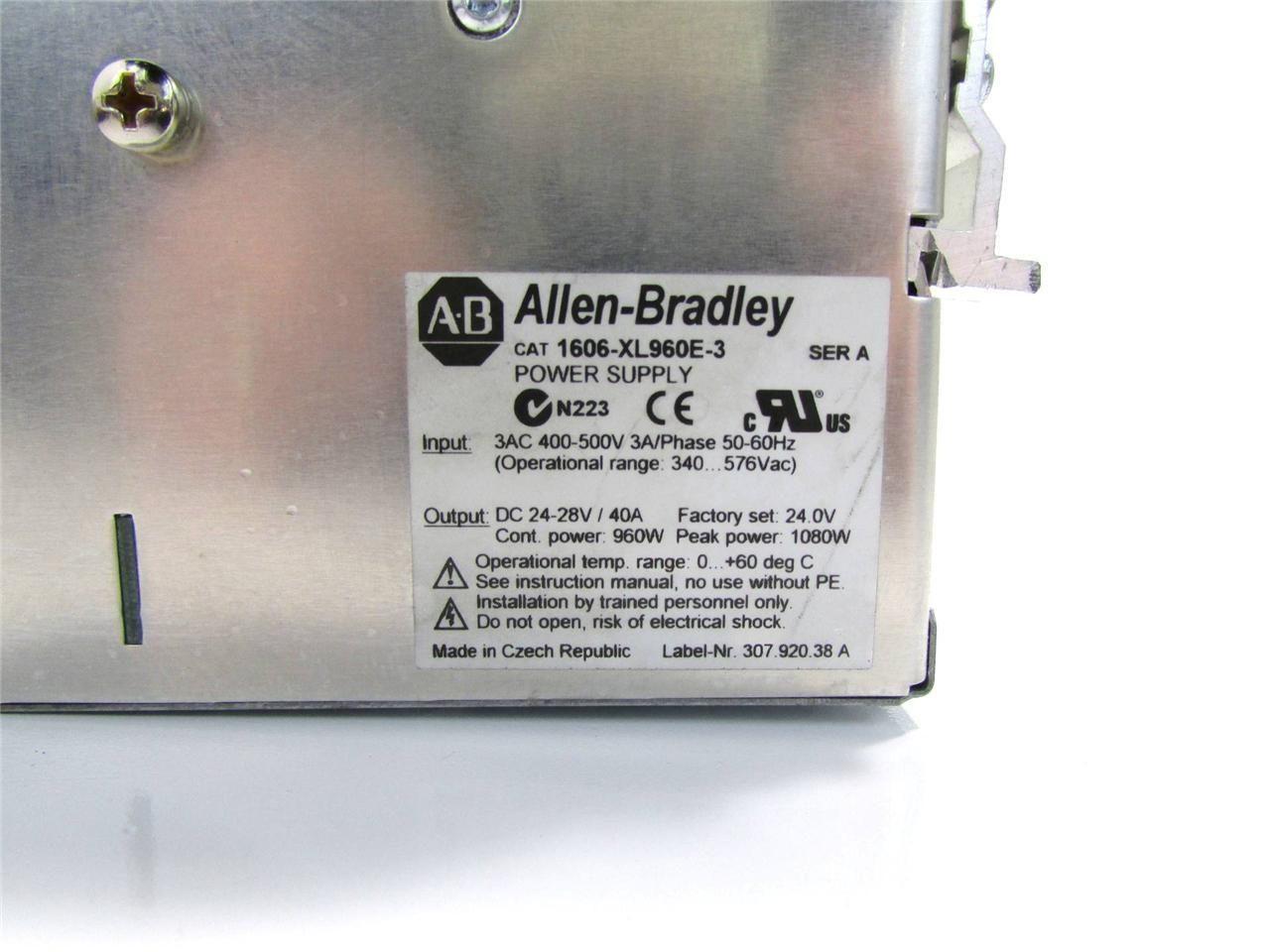 Allen Bradley 1606 Xl960e 3 Ac Dc Dinrail Mount Power