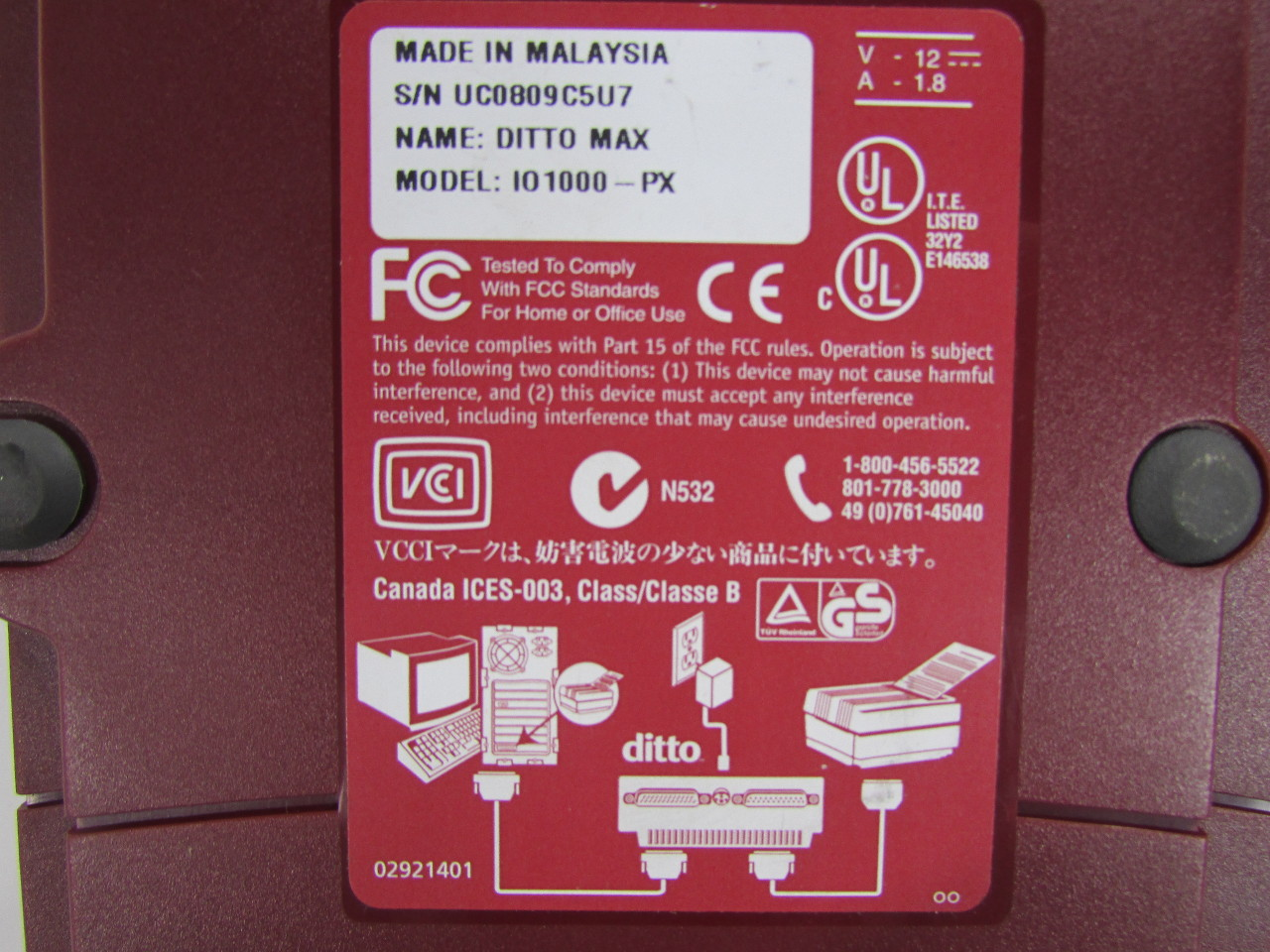 Details about IOMEGA DITTO MAX IO1000-PX EXTERNAL BACKUP STORAGE DRIVE