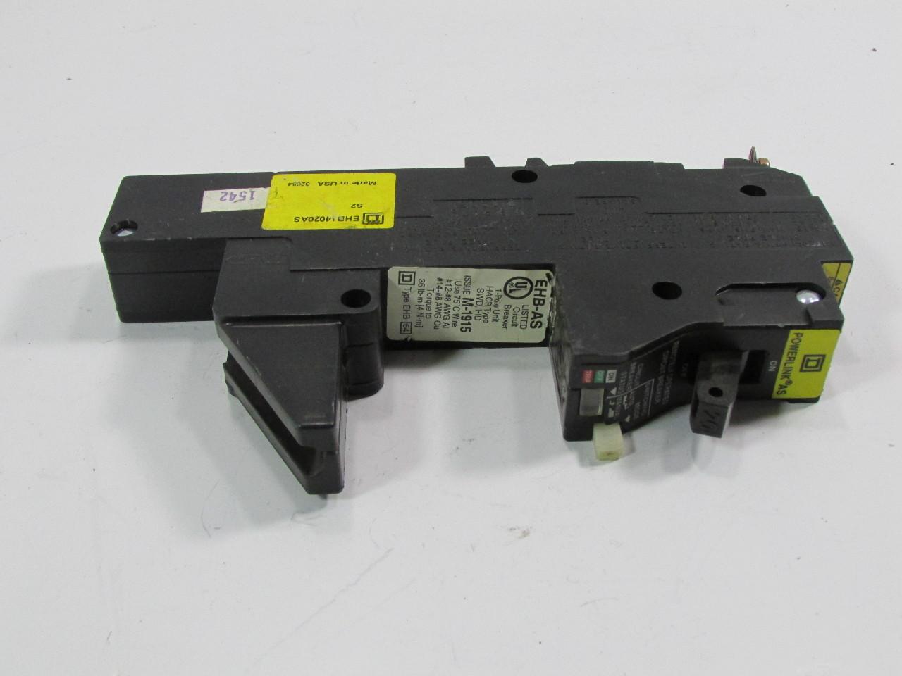 SQUARE D EHB14020AS REMOTE CONTROL CIRCUIT BREAKER EHB AS POWERLINK AS  #B0B219