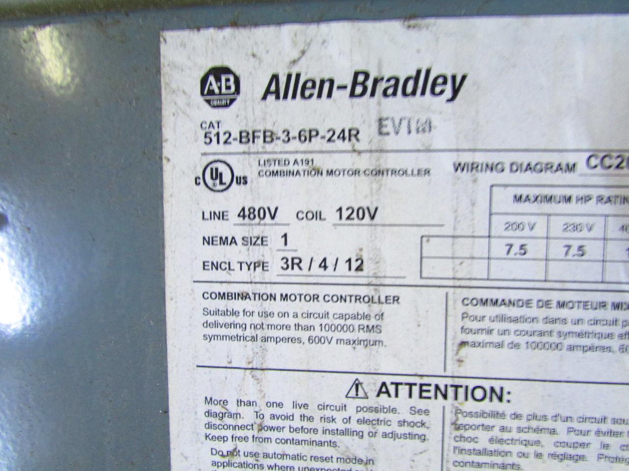 Combination Motor Starter Wiring Diagram 40 Images 480480 Volt Sd07950 Allen Bradley 512 Bfb 3 6p 24r Nema Disconnect Type 1 480