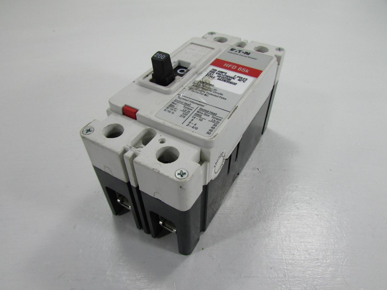 Eaton Hfd 65k Cat Hfd2200 Industrial Circuit Breaker 200