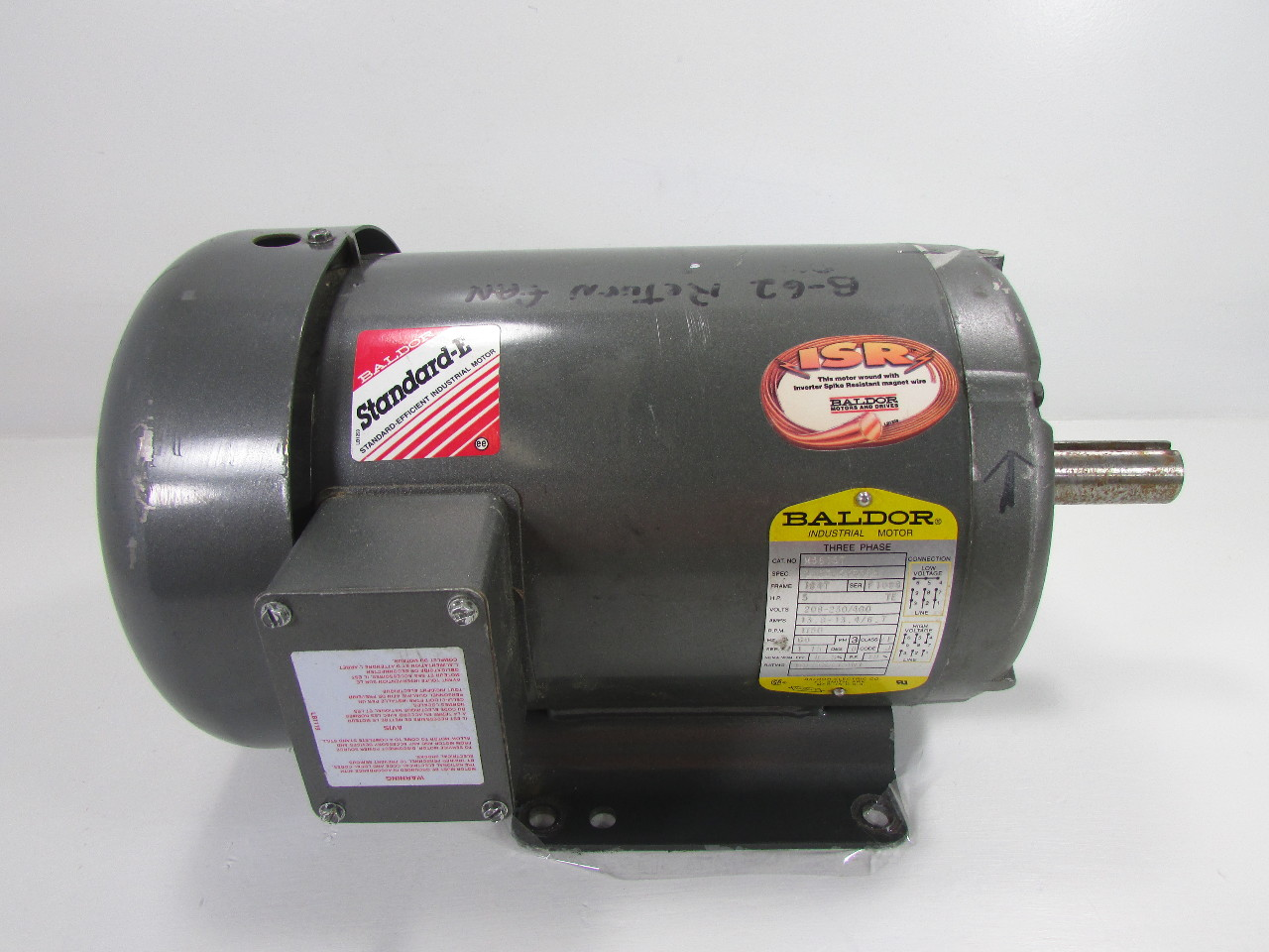 Baldor M3615t 5 Hp 1750 Rpm Electric Motor 3 Phase 230
