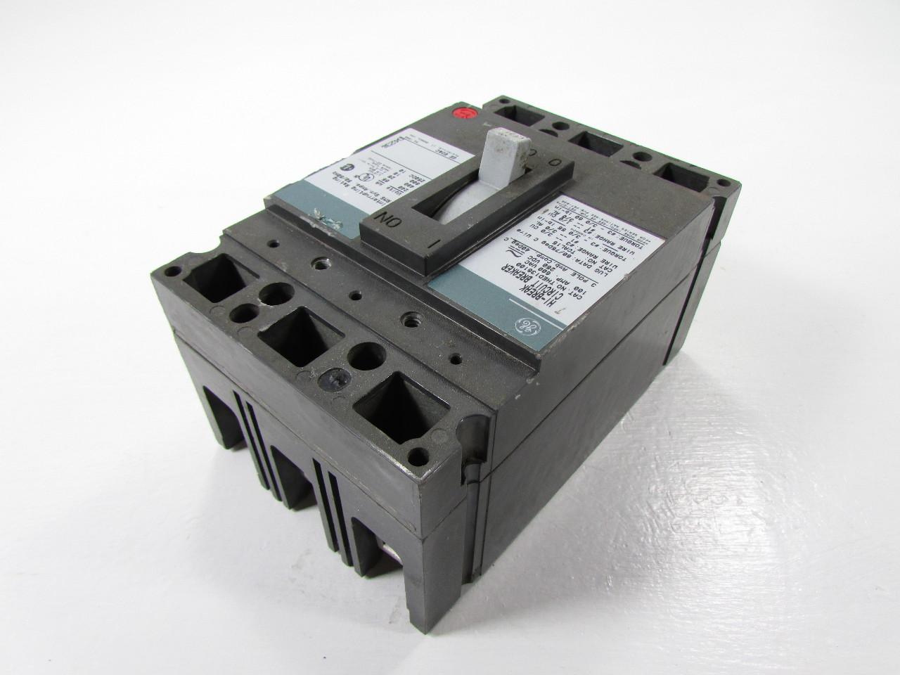 Ge Hi Break Thed 136100 3 Pole 100 Amp 600 Vac Circuit Breaker