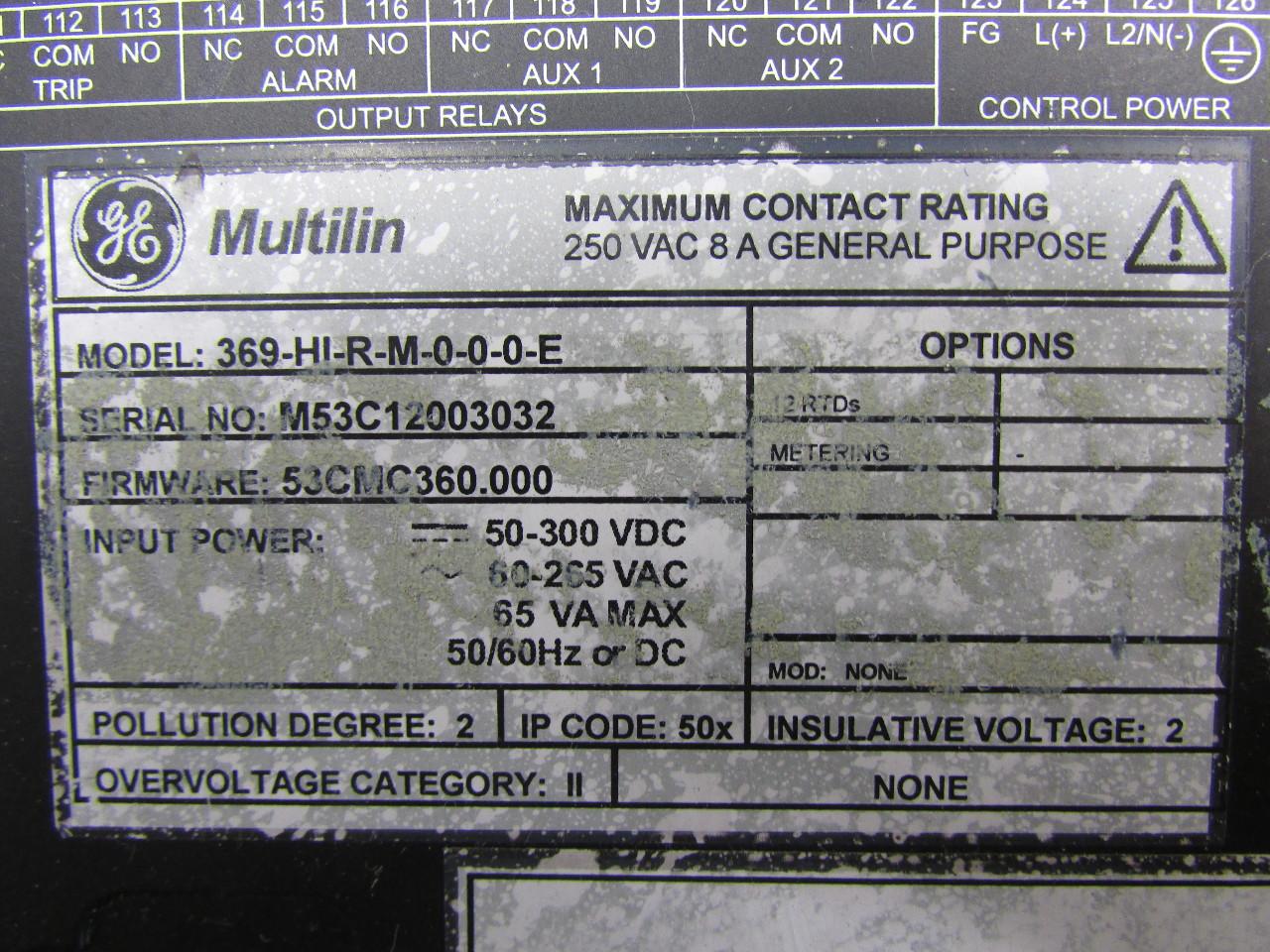 Ge Multilin 369 Hi R M 0 0 0 E 369 Motor Management Relay