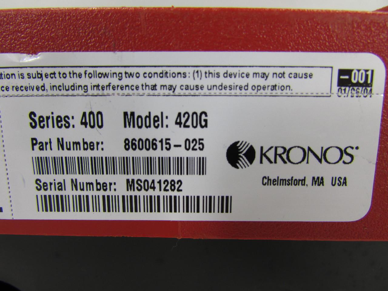 Kronos 480f Time Clock For Sale: KRONOS 420G TIME CLOCK P/N 8600615-025